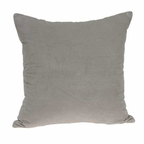 "22"" x 7"" x 22"" Transitional Gray Solid Pillow Cover With Down Insert"