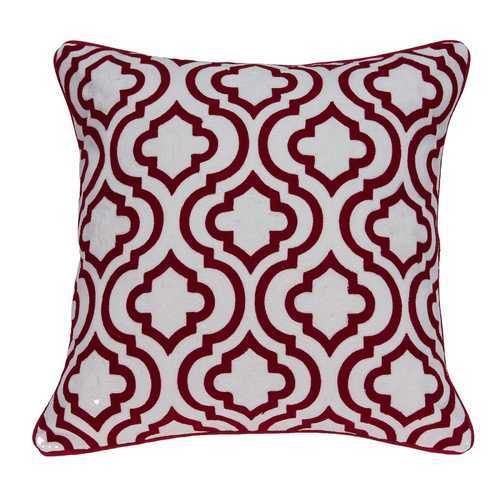 "20"" x 7"" x 20"" Transitional Red and White Accent Pillow Cover With Down Insert"