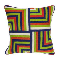 "20"" x 7"" x 20"" Handmade Multicolored Accent Pillow Cover With Poly Insert"