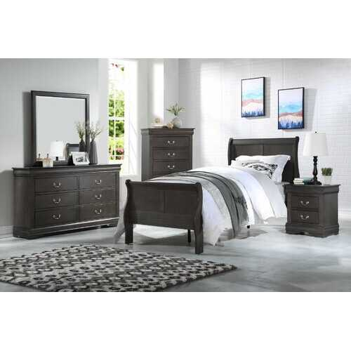 "56"" X 85"" X 47"" Dark Gray Wood Full Bed"