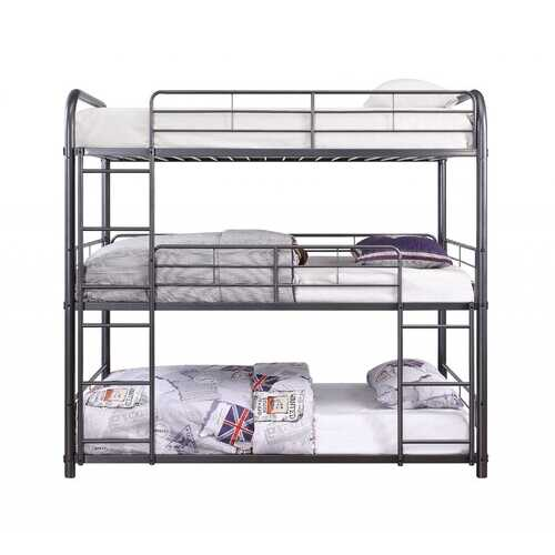 "57"" X 79"" X 74"" Gunmetal Metal Triple Bunk Bed - Full"
