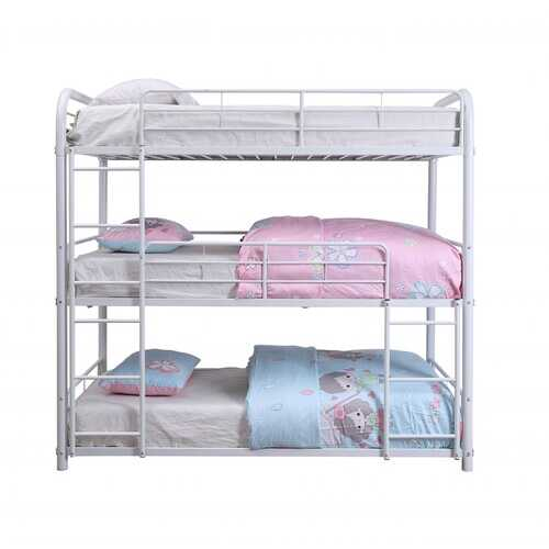 "57"" X 79"" X 74"" White Metal Triple Bunk Bed - Full"