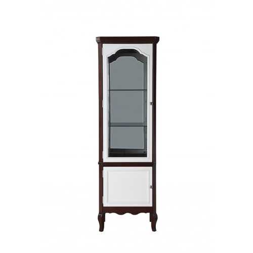 "18"" X 26"" X 78"" Walnut White Wood Curio Cabinet"
