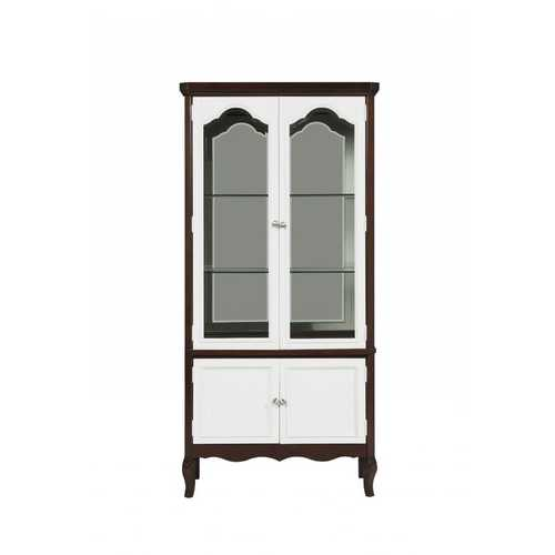 "18"" X 39"" X 78"" Walnut White Wood Curio Cabinet"