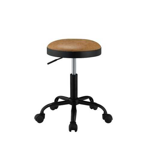 "17"" X 17"" X 24"" Vintage Caramel PU Black Metal Upholstered Adjustable Stool w/Swivel (Set of 2)"