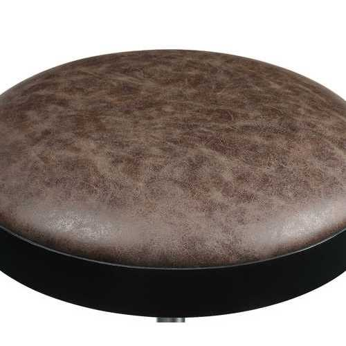 "17"" X 17"" X 24"" Vintage Mocha PU Black Metal Upholstered Adjustable Stool w/Swivel (Set of 2)"
