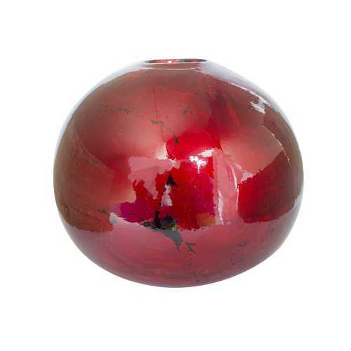 "9"" X 9"" X 7'.5"" Red Ceramic Foiled & Lacquered Spherical Table Vase"