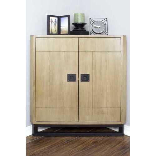 "31"" X 17"" X 32"" Natural MDF, Wood, Metal Door Corner Cabinet"