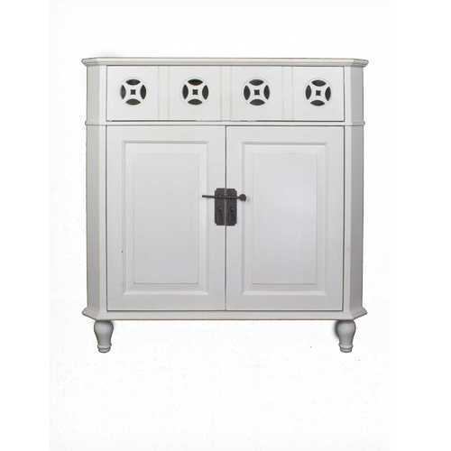 "31"" X 17"" X 32"" White MDF, Wood Drawer and Door Corner Cabinet"