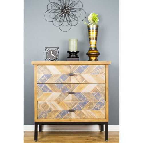 "31'.5"" X 15"" X 31'.8"" Elm with Gray Iron, Wood, MDF 3-Drawer Parquet Accent Cabinet"