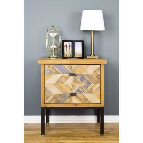 "24"" X 15"" X 26"" Elm with Gray Iron, Wood, MDF 2-Drawer Parquet Accent Cabinet"