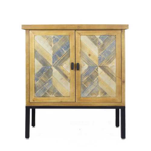 "31'.5"" X 15"" X 33'.8"" Elm with Gray Iron, Wood, MDF 2-Drawer, 2-Door Parquet Sideboard"