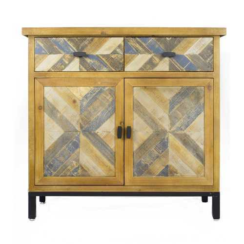 "35'.8"" X 15"" X 33'.8"" Elm with Gray Iron, Wood, MDF 2-Drawer, 2-Door Parquet Sideboard"