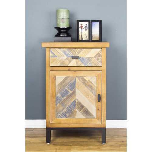 "18'.9"" X 15"" X 28'.7"" Elm with Gray Iron, Wood, MDF 2-Drawer Parquet Accent Cabinet"