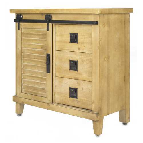 "31"" X 15"" X 30"" Natural Wood Iron, Wood, MDF Accent Cabinet with  Doors and  Drawers"