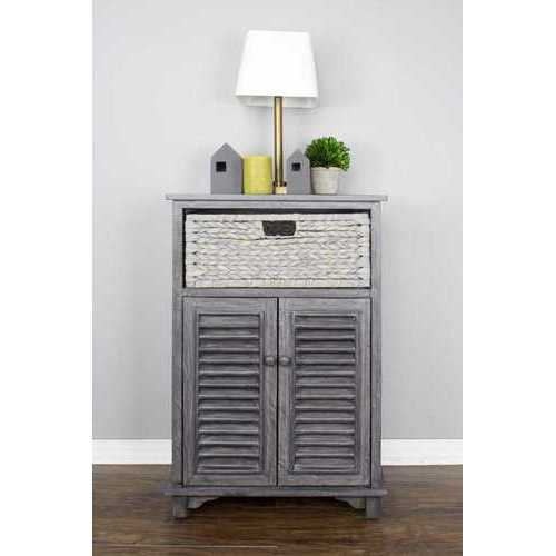 "21'.75"" X 13'.75"" X 32"" Grey Wood, MDF, Water Hyacinth Water Hyacinth Basket, aDoor Accent Cabinet"