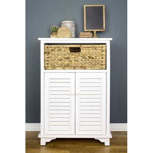 "21'.75"" X 13'.75"" X 32"" White Wood, MDF, Water Hyacinth Water Hyacinth BasketDoor Accent Cabinet"