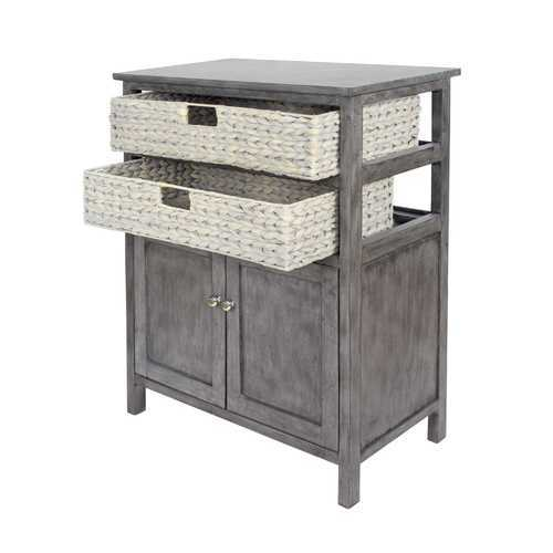 "26'.5"" X 15"" X 31'.5"" Grey Wood, MDF, Water Hyacinth Water Hyacinth Basket, a Door Accent Cabinet"