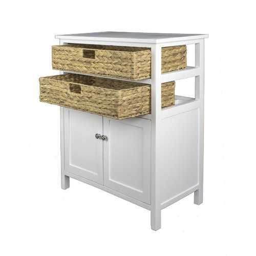 "26'.5"" X 15"" X 31'.5"" White Wood, MDF, Water Hyacinth Water Hyacinth Basket, a Door Accent Cabinet"