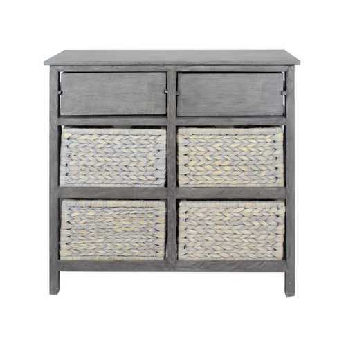 "30"" X 13"" X 28"" Grey Wood, MDF, Water Hyacinth Water Hyacinth Drawer with Basket and Accent Cabinet"