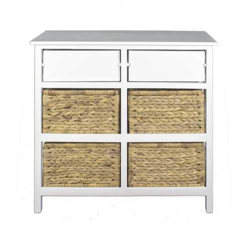 "30"" X 13"" X 28"" White Wood, MDF, Water Hyacinth Water Hyacinth Basket, a Door Accent Cabinet"