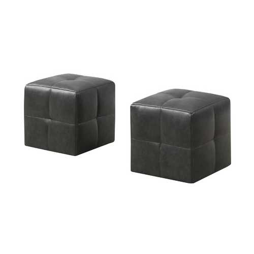"24"" x 24"" x 24"" Charcoal/Grey, Leather Look - Ottoman 2pcs Set"