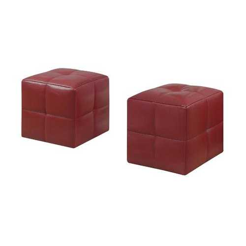 "24"" x 24"" x 24"" Red, Leather Look - Ottoman 2pcs Set"