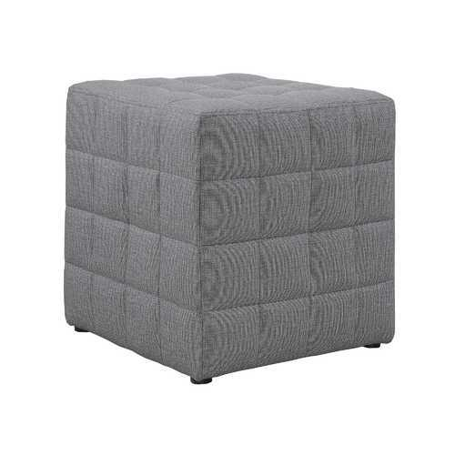 "16'.75"" x 16'.75"" x 17"" Light Grey, Linen Look Fabric - Ottoman"