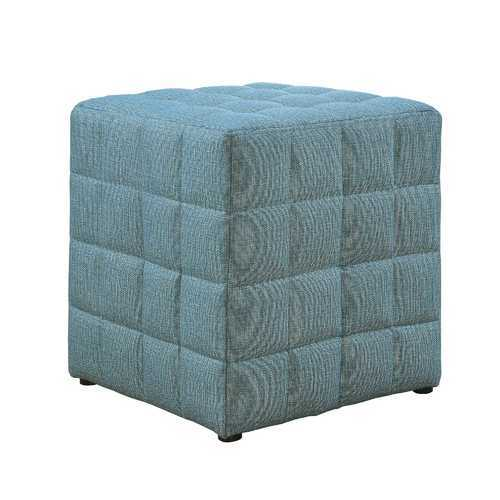 "16'.75"" x 16'.75"" x 17"" Light Blue, Linen Look Fabric - Ottoman"