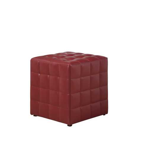 "16'.75"" x 16'.75"" x 17"" Red, Leather Look Fabric - Ottoman"