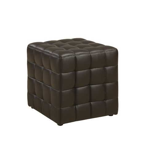 "16'.75"" x 16'.75"" x 17"" Dark Brown, Leather Look Fabric - Ottoman"