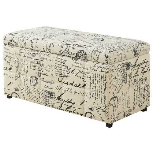"17"" x 38"" x 17'.75"" Vintage French Fabric - Ottoman Storage"