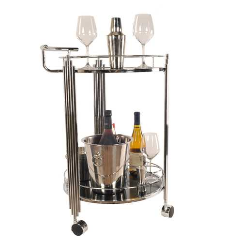"17.5"" x 21"" x 30"" Chrome, Round, 2-Tier - Serving Trolley"
