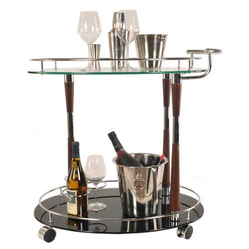 "18.75"" x 29.75"" x 27.375"" Chrome - Serving Trolley"