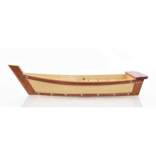 "6.25"" x 16.75"" x 3.37""  Small, Wooden, Sushi Boat - Serving Tray"