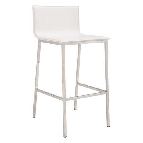 "18.5"" x 21.1"" x 39"" White, Leatherette, Stainless Steel, Barstool"