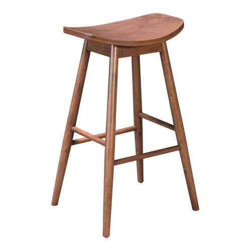 "18.9"" x 16.5"" x 31.3"" Walnut, Wood Veneer, Rubberwood, Barstool - Set of 2"