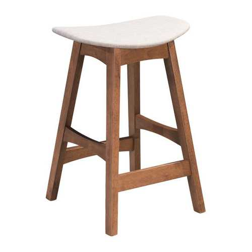 "18.7"" x 15.9"" x 26"" Gray & Walnut, Poly Blend, Rubberwood, Counter Stool - Set of 2"