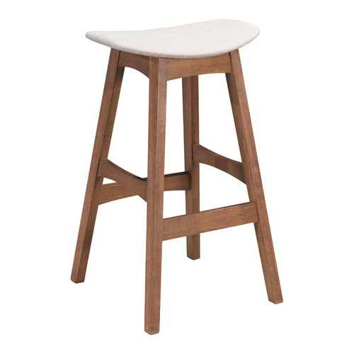 "18.7"" x 16.5"" x 29.9"" Gray & Walnut, Wood Veneer, Rubberwood, Barstool Dove - Set of 2"