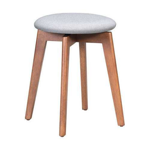 "18.1"" x 18.1"" x 19.3"" Walnut & Light Gray, Poly Linen, MDF, Rubber Wood, Stool - Set of 2"