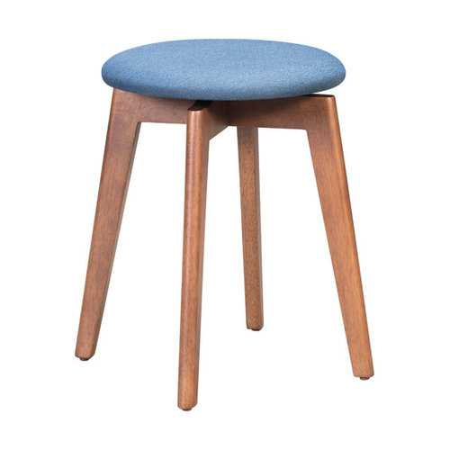 "14.4"" x 14.4"" x 19.3"" Walnut & Ink Blue, Poly Linen, MDF, Rubber Wood, Stool - Set of 2"