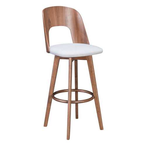 "18.1"" x 21.1"" x 44.9"" Walnut & Light Gray, Poly Blend, Wood Veneer, Barstool - Set of 2"