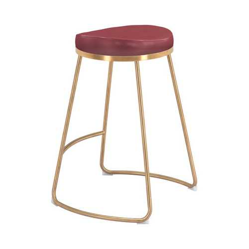 "20.3"" x 17.5"" x 26.2"" Burgundy, Leatherette, Stainless Steel, Counter Stool - Set of 2"