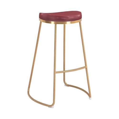 "20.3"" x 17.5"" x 30.5"" Burgundy, Leatherette, Stainless Steel, Barstool - Set of 2"