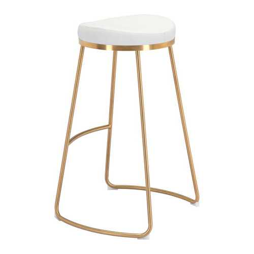 "20.3"" x 17.5"" x 30.5"" White, Leatherette, Stainless Steel, Barstool - Set of 2"