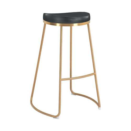 "20.3"" x 17.5"" x 30.5"" Black, Leatherette, Stainless Steel, Barstool - Set of 2"