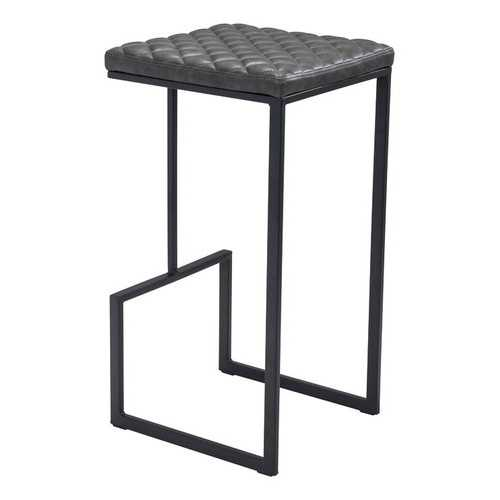 "15"" x 15.4"" x 29.5"" Gray, Leatherette, Steel & Plywood, Barstool"