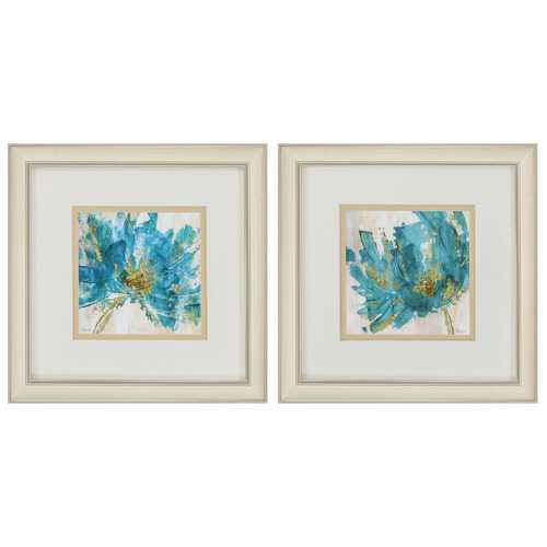 "12"" X 12"" Champagne Gold Color Frame  Blue Infusion (Set of 2)"