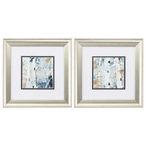 "13"" X 13"" Brushed Silver Frame Blue Watercolor (Set of 2)"