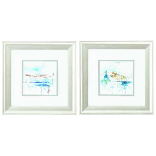 "13"" X 13"" Brushed Silver Frame Malibu Marina (Set of 2)"